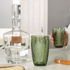 Curved Gin Decanter with Embossed Leaf Tumblers