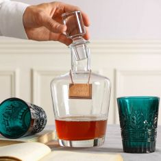 Curved Decanter with Personalised Copper Tag & Tumblers