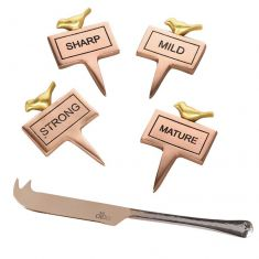 Set of 4 Copper Cheese Markers and Cheese Knife