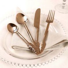 16 Piece Botanical Copper Leaf Cutlery Set