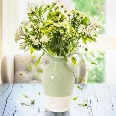 Green and White Two Tone Jug Vase