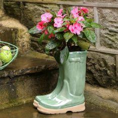 Sage Green Wellington Boots Planter