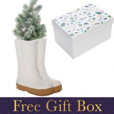 Small White Wellington Boots Plant Pot