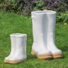 White Ceramic Wellington Boot Plant Pots
