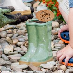 Fern Green Ceramic Wellingtons Planter with Personalised Marker