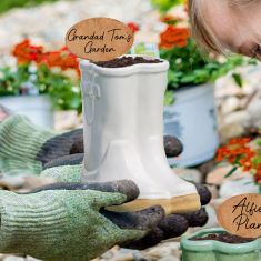 White Ceramic Wellington Planter with Personalised Marker