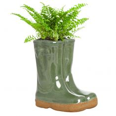 Sage Green Wellingtons Plant Pot