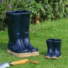 Midnight Blue Ceramic Wellington Boot Plant Pots