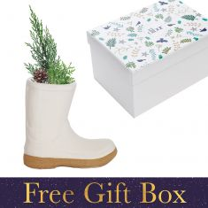 Small White Single Wellington Boot Plant Pot