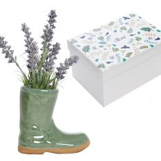 Small Sage Green Wellington Boot Plant Pot