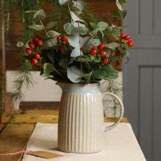 Ribbed Blue Pitcher Jug Vase