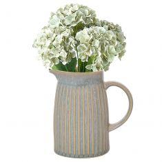 Pastel Blue Rippled Pitcher Jug Vase with Flowers
