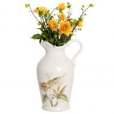 Large Botanical White Ceramic Jug Vase