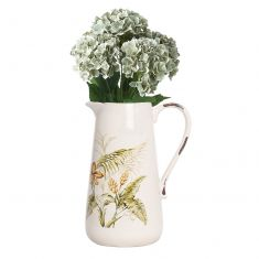 Rustic Pressed Flowers Pitcher Jug with Hydrangea Bunch