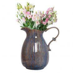Aegean Blue Fluted Pitcher Jug Vase