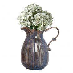 Vintage Blue & Gold Pitcher Jug Vase with Flowers