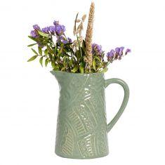 Sage Green Patterned Pitcher Jug Vase