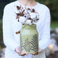 Pear Green Fern Churn Vase