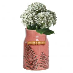 Coral Pink Milk Churn Vase with Flowers