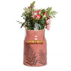 Coral Pink Fern Churn Vase