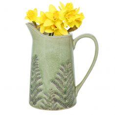 Green Fern Pitcher Jug Vase