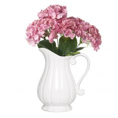 Neoclassical Fluted Pitcher Vase with Flowers