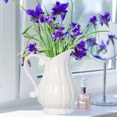 Elegant Ceramic Fluted White Jug Vase