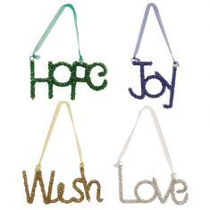 Set of 4 Christmas Wishes Hanging Decorations