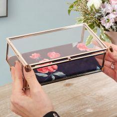 Coral Rose Glass Jewellery Box