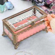 Personalised Brass Blush Jewellery Box