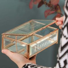 Personalised Beautiful Things Etched Glass Jewellery Box