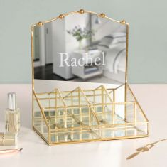 Personalised Gold Dressing Table Mirror Organiser