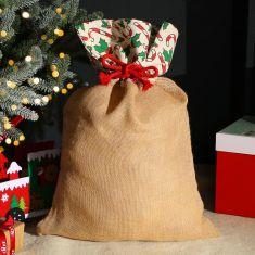 Candy Cane Jute Christmas Gift Sack