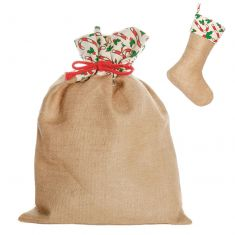 Candy Cane Jute Christmas Gift Sack with Matching Stocking