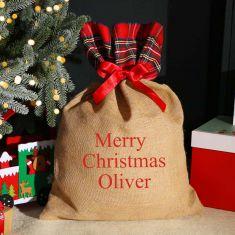 Personalised Tartan Jute Christmas Gift Sack