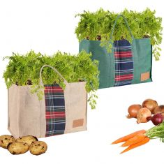 Set of 2 Natural Jute Grow Bags