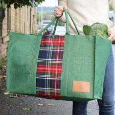 Green Tartan Reusable Shopper