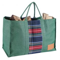Green Tartan Log Bag