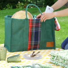 Sustainable Plaid Large Family Picnic and Beach Bag