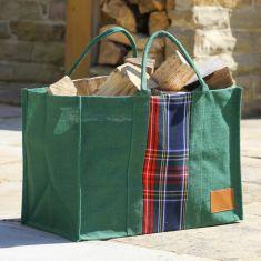 Green Tartan Jute Log Fire Bag