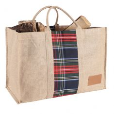 Natural Tartan Jute Log Carrier