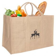Deer Design Reusable Jute Shopping Bag