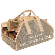 Personalised Natural Jute Herringbone Log Bag