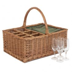 Cooler Picnic Basket with Bottle and Glass Holders