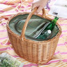 Large Hand Woven Wicker Picnic Cooler Basket