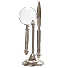 Ornate Silver Magnifying Glass and Letter Opener Set