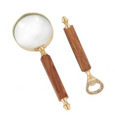 Compton Wood Handle Brass Magnifying Glass and Bottle Opener