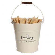 Vintage Style Ivory Kindling Bucket