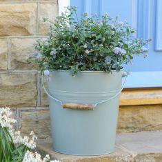 Rustic Sage Green Flower Pot Bucket Planter