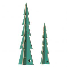 Set of 2 Wooden Standing Tree Decorations